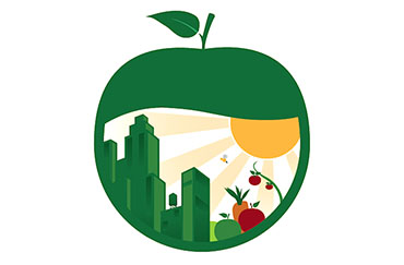 graphic of apple with a skyline in it