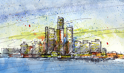 watercolor skyline of detroit